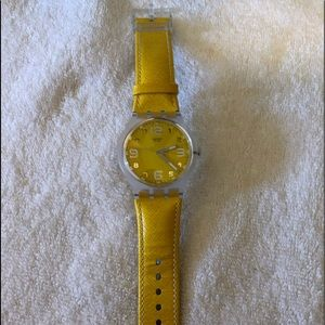 Swatch Watch in Yellow with Leather Band